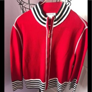 St John Sport Red Zip knit sweater blazer.